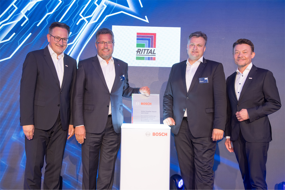 Rittal received the coveted Bosch Global Supplier Award, granted every two years. From a total of some 43,000 suppliers around the world, Bosch honoured 47 companies from 15 countries.